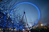 London Eye at night, long time exposure, City of London, England, United Kingdom, Europe