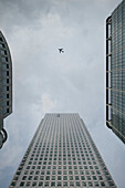 Office buildings and airplane, skyscrapers, Canary Wharf, City of London, England, United Kingdom, Europe