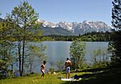 Lake Barmsee, Karwendel mountain range near Kruen, Bavaria, Germany