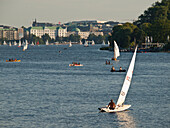 Boats on Lake Alster in the city centre of Hamburg, Hanseatic City of Hamburg, Germany
