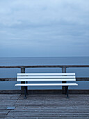 Bench on a pier at the Baltic Sea, Zinnowitz, Mecklenburg Western Pomerania, Germany