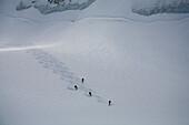 Gruppe Skifahrer bei der Abfahrt auf dem Durandgletscher ins Val d Anniviers, Kanton Wallis, Schweiz