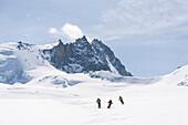 Three skier downhill skiing from Mount Bishorn, Turtmann valley, Canton of Valais, Switzerland