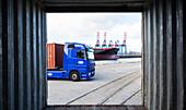 Container truck at Hamburg harbour, Hamburg, Germany