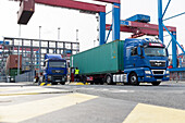 Container loading of a truck in the port of Hamburg, Hamburg, Germany