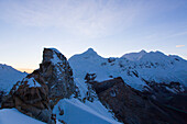 Tocllaraju and Chinchey in sunrise, Urus, Pashpa, Ishinca Valley, Huaraz, Ancash, Cordillera Blanca, Peru