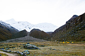 Base camp in Ishinca Valley, Tocllaraju in background, Pashpa, Huaraz, Ancash, Cordillera Blanca, Peru