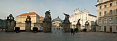 Panoramic photograph of the entrance to Prague Castle, Prague, Czech Republic, Europe