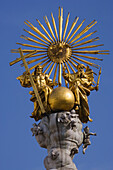 Top of the baroque Holy Trinity column, also called plague column, Hauptplatz, Linz, Upper Austria, Austria