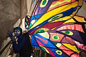 Street artist during the Pflasterspektakel street festival, Linz, Upper Austria, Austria