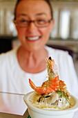 Shrimp mousse at a Delicatessen, Saint-Vaast-la-Hougue, Normandy, France