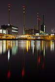 Voest Linz, Stahlwerk bei Nacht, Donau, Oberösterreich, Österreich