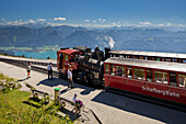 Schafbergbahn, Stream locomotive with view of lake Wolfgangsee, Salzkammergut, Schafberg, Salzburg Land, Austria