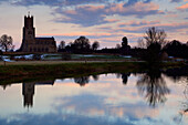 St Mary and all Saints church, river Nene, Fotheringhay village, Northamptonshire, England, Britain, UK