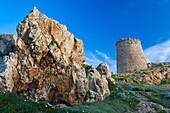 France, Corsica, Haute-Corse Department, La Balagne Region, Ile Rousse, Ile de la Pietra, Genoese tower, dusk