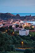 France, Corsica, Haute-Corse Department, La Balagne Region, Ile Rousse, elevated city view with Ile de la Pietra, dawn