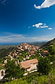 France, Corsica, Haute-Corse Department, La Balagne Region, Speloncato, elevated town view