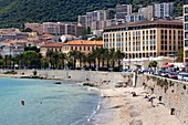 France, Corsica, Corse-du-Sud Department, Corsica West Coast Region, Ajaccio, city view from the seaside