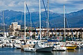 France, Corsica, Corse-du-Sud Department, Corsica West Coast Region, Ajaccio, city view from Port Tino Rossi