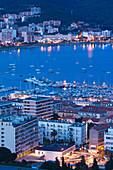France, Corsica, Corse-du-Sud Department, Corsica West Coast Region, Ajaccio, elevated city view from Salario Road, dusk