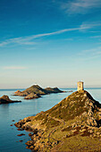 France, Corsica, Corse-du-Sud Department, Corsica West Coast Region, Ajaccio-area, Pointe de la Pirata, view of the Iles Sanguinaires, dawn