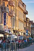 France, Corsica, Corse-du-Sud Department, Corsica South Coast Region, Propriano, Avenue Napoleon, sunset