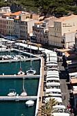 France, Corsica, Corse-du-Sud Department, Corsica South Coast Region, Bonifacio, elevated view of the port