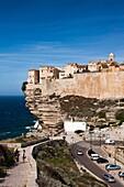 France, Corsica, Corse-du-Sud Department, Corsica South Coast Region, Bonifacio, cliffside houses
