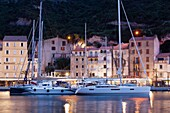 France, Corsica, Corse-du-Sud Department, Corsica South Coast Region, Bonifacio, port, dusk