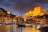 France, Corsica, Corse-du-Sud Department, Corsica South Coast Region, Bonifacio, port and Citadel, sunrise