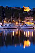 France, Corsica, Corse-du-Sud Department, Corsica South Coast Region, Porto Vecchio, marina and Citadel, dawn
