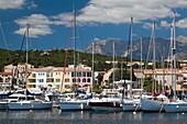France, Corsica, Corse-du-Sud Department, Corsica East Coast Region, Cote des Nacres, seashell coast area, Solenzara, marina view of the town