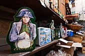 France, Corsica, Haute-Corse Department, Central Mountains Region, Corte, Corsican products shop, box with illustration of Napoleon Bonaparte