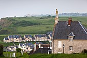 France, Normandy Region, Calvados Department, D-Day Beaches Area, Port en Bessin, elevated town view