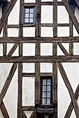 France, Centre Region, Eure et Loir Department, Chartres, half-timbered house detail, Rue des Ecuyers
