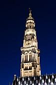 France, Nord-Pas de Calais Region, Pas de Calais Department, Arras, town hall and tower, dusk