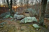 USA, Massachusetts, Gloucester, Dogtown rocks with inspirational words, Work