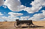 USA, South Dakota, Cactus Flat, Prairie Homestead, old wagon