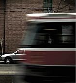 Streetcar in Motion, Toronto, Ontario.