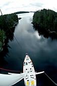 Boat Departing Equinox Cove, Queen Charlotte Island, British Columbia, Canada