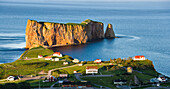 Village and Perce Rock at sunset, Perce, Gaspesie, Quebec