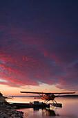 Floatplane and Sunset over the MacKenzie River, Fort Simpson, Northwest Territories
