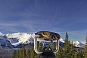 Binoculars and scenery of Canadian Rocky Mountains, Lake Louise Ski Resort, Banff National Park, Alberta