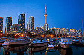 Harbourfront marina west at dusk, Toronto, Ontario