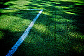 Chalk lines on the green grass of a football field, Otterburn park, Quebec