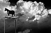 Giant horse figure on a metal stand against big white clouds, Mont St-Hilaire, Quebec
