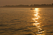 Two people in a canoe at Sunset, Toronto, Ontario