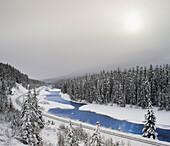 Railroad tracks at Morant's Curve along the Bow River, Banff National Park, Alberta