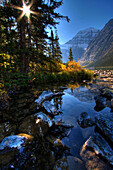 Autumn Afternoon on Cavell Lake below Mount Edith Cavell, Jasper National Park, Alberta