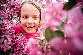 Girl in Pink Flowering Tree, Winnipeg, Manitoba